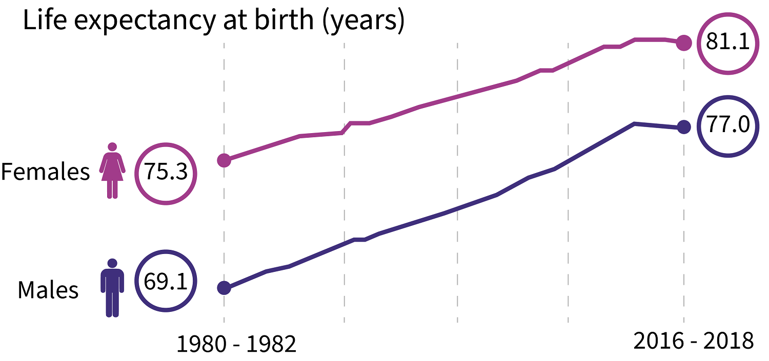 Chart displaying that life expectancy at birth has been static for the past decade.