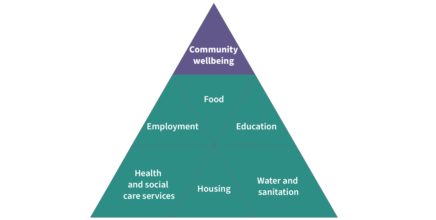 Pyramid showing the elements of community wellbeing: employment, food, education, health and social care services, housing, water and sanitation